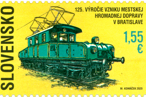 A special stamp was printed to mark the 125th anniversary of public transport in Bratislava.