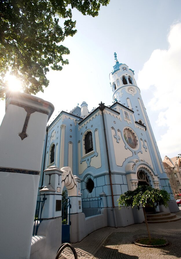 The Catholic Church of St. Elizabeth of Hungary, known as the Blue Church, on Bezručová Street in Bratislava was built in the Art Nouveau architectural style between 1909 and 1913 according to a project by Budapest architect Edmund Lechner.