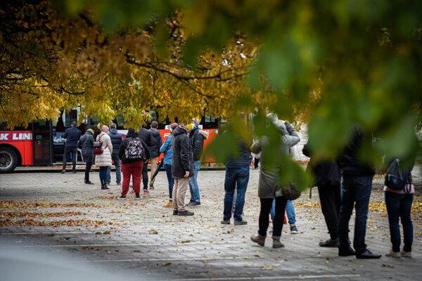 Nationwide coronavirus testing in Bratislava, October 31, 2020. City buses were used as testing sites too.