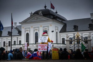 Hundreds of people gathered in Bratislava on December 12 to protest against the government.