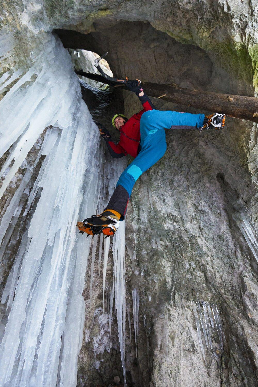 Icefall climbing in national park Slovenský Raj (Slovak Paradise).