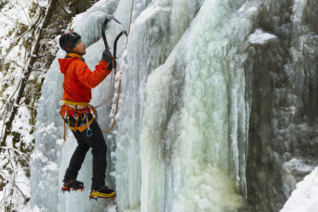 Michal Sabovčík from Spišská Nová Ves climbs an icefall near the Kyseľ Gorge in the national park Slovenský raj (Slovak Paradise) on January 26, 2021.
