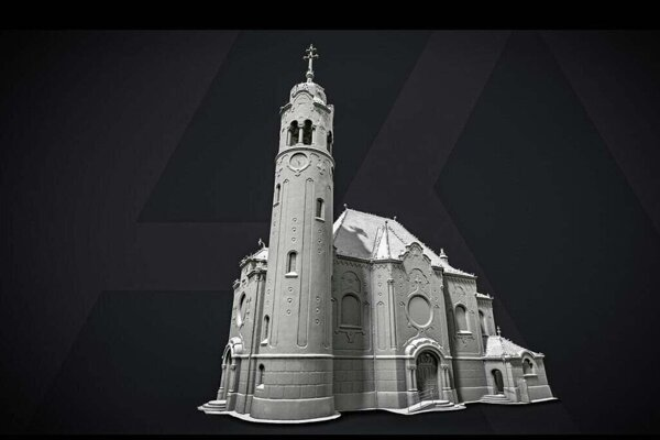 The 3D model of Bratislava's Blue Church by Capturing Reality.