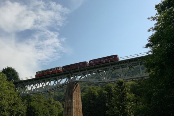 The Mining Express train passes through a viaduct on the line between Hronská Dúbrava and Banská Štiavnica on July 11, 2020.