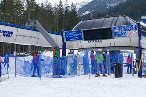 Skiers in the Štrbské Pleso resort on April 22, 2021.