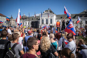 Several hundreds of people came to show their disagreement with vaccination and pandemic restrictions to Hodžovo Square in Bratislava on July 29, 2021.