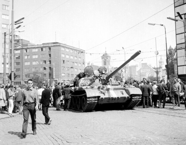 A historical picture of streets in Bratislava occupied by Warsaw Pact troops in August 1968.