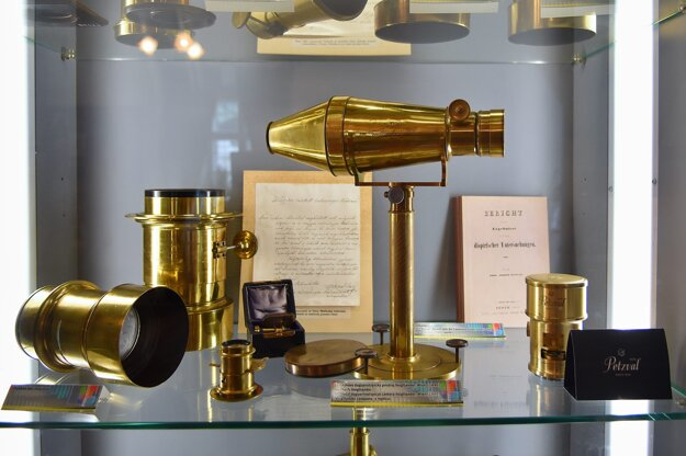 Historical lenses including those designed by Jozef Maximilián Petzval as exhibited in his museum in his native village Spišská Belá.