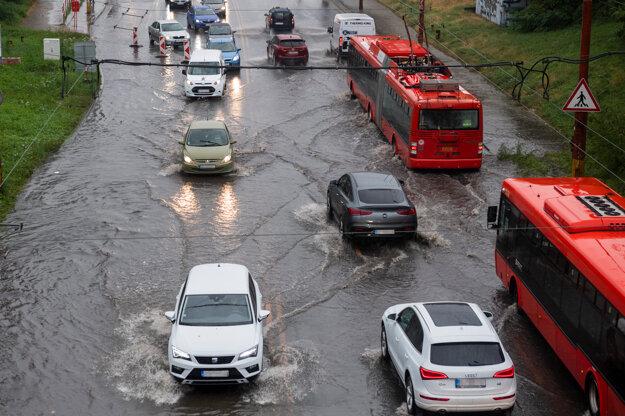 Gagarinova Street in Bratislava was flooded on Monday afternoon.