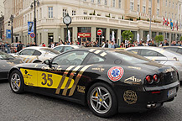 Slovakia's first-ever team in the Gumball 3000 Rally drove a black Ferrari.