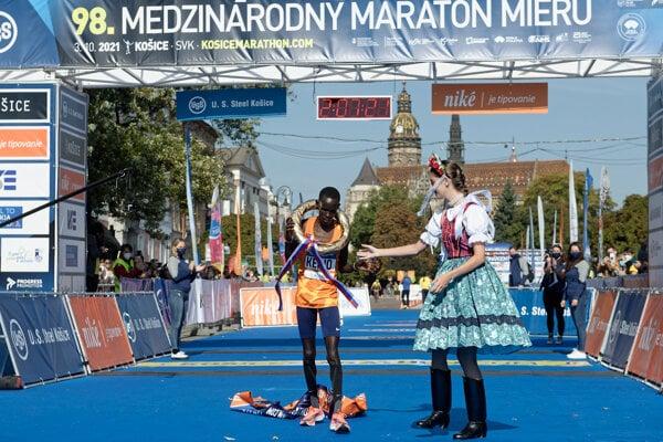 Reuben Kiprop Kerio after crossing the finish line and winning the 2021 Košice marathon.