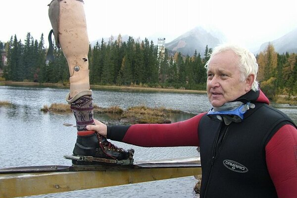 This artificial limb, complete with ski boot, was planted in the lake as a joke.