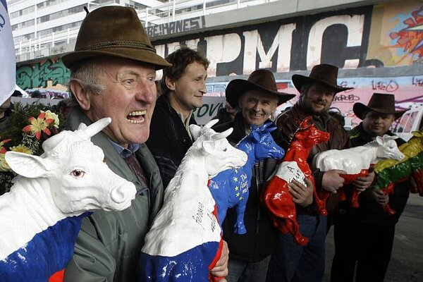 Farmers protested against EU policy in Prague