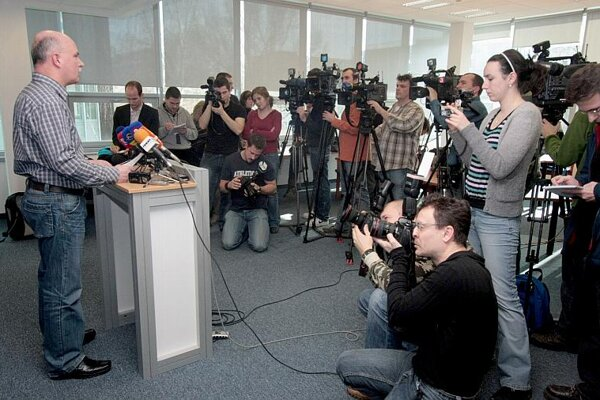 Minister Janušek, attracting the media's attention