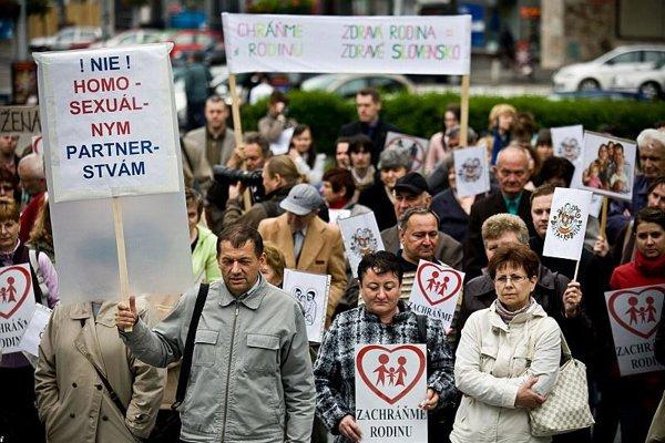 Anti-Pride protesters in Bratislava.