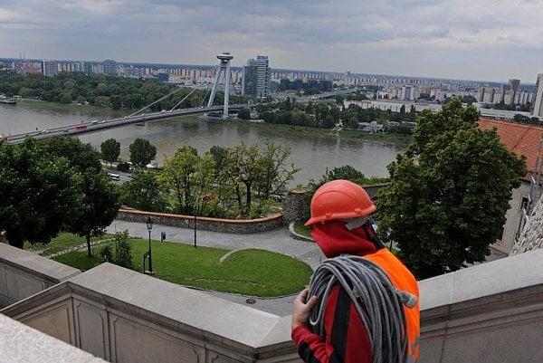 Bratislava's New Bridge is a city landmark.