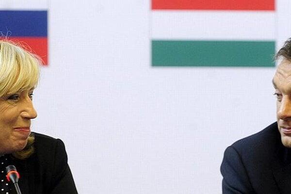 Iveta Radičová and Viktor Orbán at the V4 summit in Budapest.