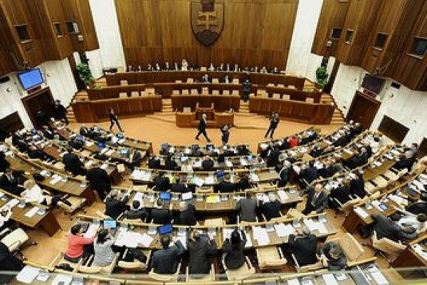 The main chamber of the Slovak Parliament.