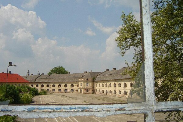 The abandoned square where soldiers once paraded.