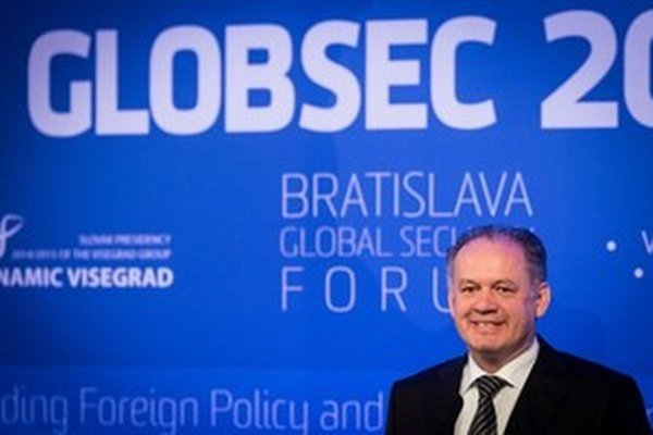 Slovak President Andrej Kiska gives the opening speech of The Globsec 2016 security conference.