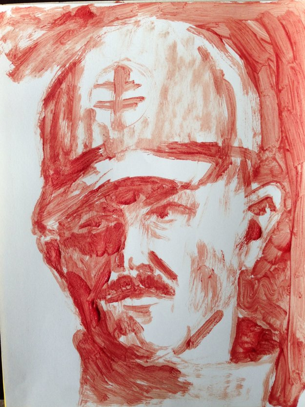 Ján TRiaška (SK): Leader. Porcine Blood on a Cheap Paper (2013)drawing
