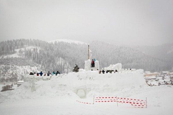 The ice castle Slovak Paradise in Mlynky.