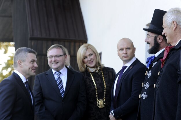 Speaker of Parliament Peter Pellegrini (L) was also present in Uhrovec, at the Štúr celebration.