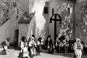 K. Plicka: In fornt of the Church in Polomka, 1932