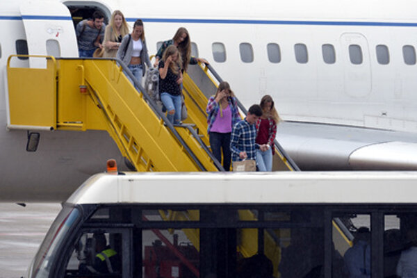 Slovaks arrive at Bratislaav airport on July 16 from the terorrism-stricken city of Nice.