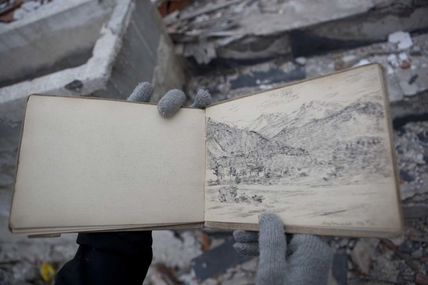 Juraj Gábor and his page from the sketch-book