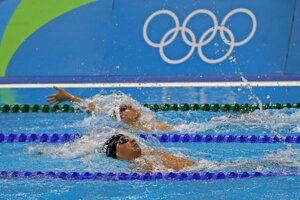 Swimmer Richard Nagy (front) edned ninth in medley 400m, not making it into semi-finals.