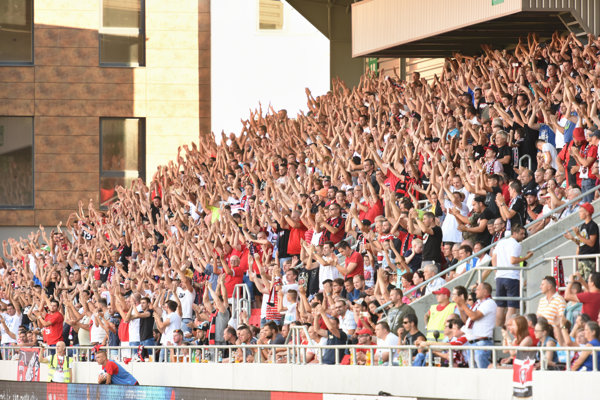 Fans at the stadium in Trnava during the August 4 match against FC Austria Wien.
