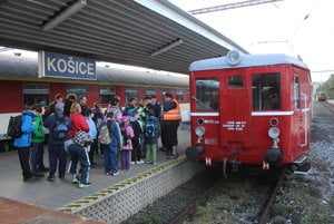 Boarding the historical train in Košice.