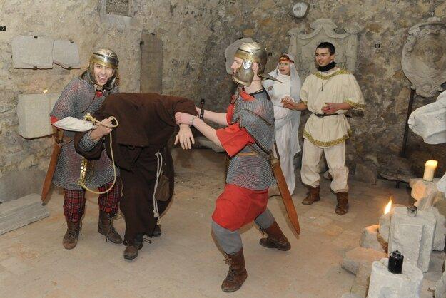 Trenčín Castle historical games. illustrative stock photo