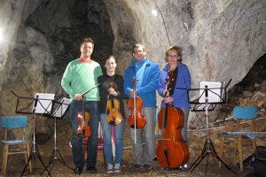 """""""Cave musicians"""" from the Sláčikové kvarteto (String Quartet) of ZUŠ – HO Považská Bystrica"""