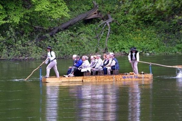 Rafting on the Váh river, illustrative stock photo