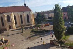 The storm toppled trees in the Main Street in Prešov