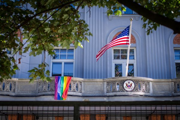 The rainbow flag flew over the US Embassy in Bratislava in 2016.