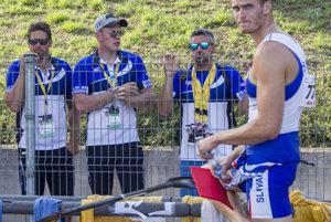 The hopeful K4 team: L-R Denis Myšak, Erik Vlček, Juraj Tarr, Tibor Linka at WC in Račice.