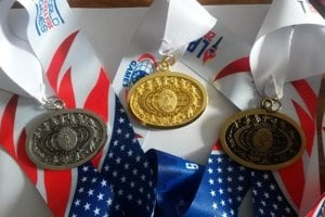 Medals from the World Police and Fire Games 2017.