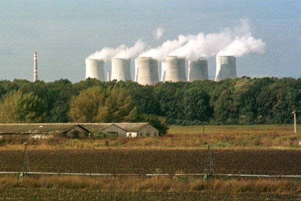 Eight operating cooling towers from the time when both nuclear power stations in Jaslovské Bohunice were generating electricity.