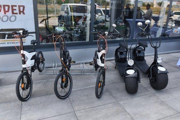 E-bikes and e-scooters, illustrative stock photo