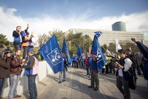 Trade unions marched for capping the retirement age at 64 years.