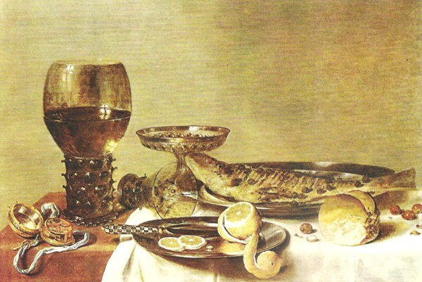 Food of ancestors was by no means dull; llustrative photo of Pieter Claesz's painting from 1635.