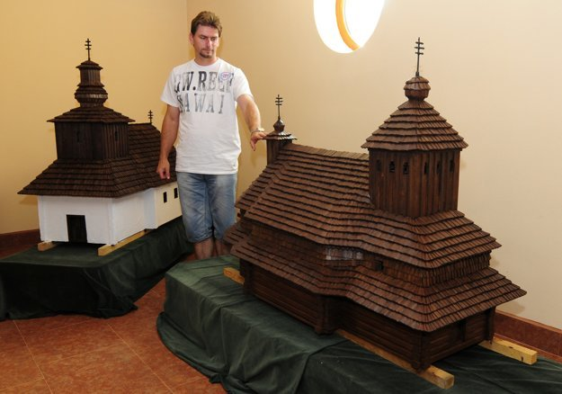 The miniature replicas of wooden churches in Ľutina