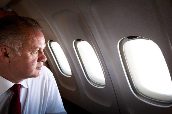 President Andrej kIska onboard a plane, illustrative stock photo.