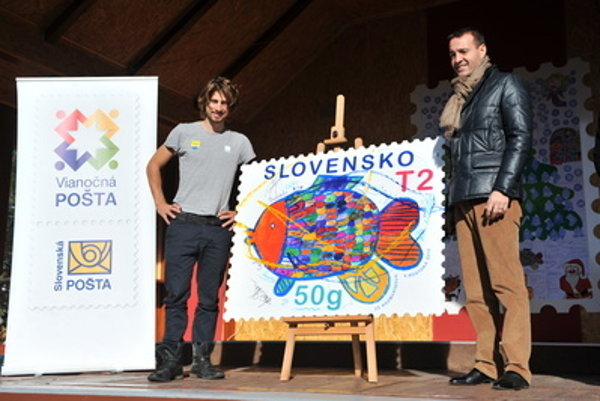 Cyclist Peter Sagan (l) launched the 17th annual Christmas post on November 6 in Rajecká Lesná.