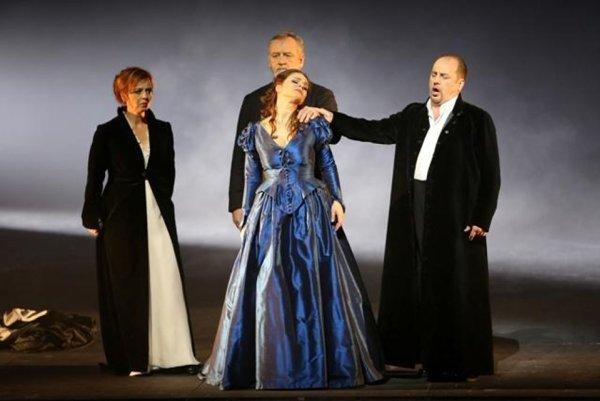 Ch. Gounod. Romeo ad Juliet ( Šlepkovská (Gertrude), Ján Galla (Father Laurent), Eva Hornyáková (Julia), Sergej Tolstov (Capulet) - L-R.