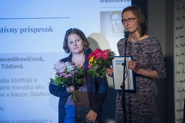 Journalists Monika Tódová (l) and Mária Benedikovičová