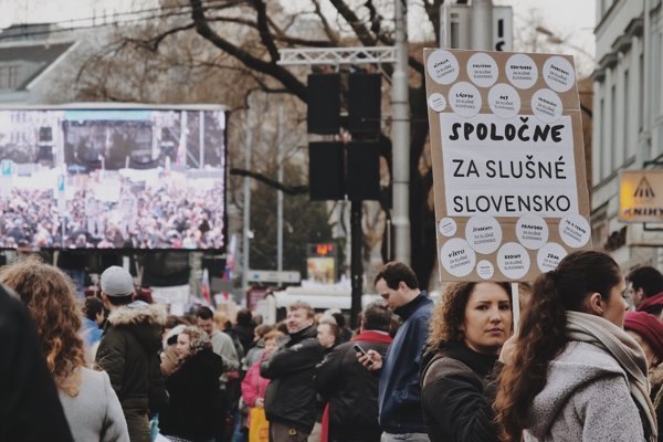 Bratislava For Decent Slovakia protest March 16, 2018.